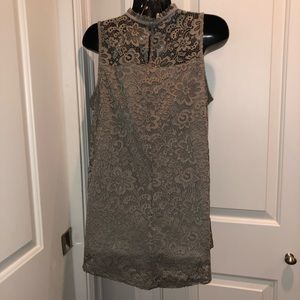 Lace overlay taupe colored high neck blouse